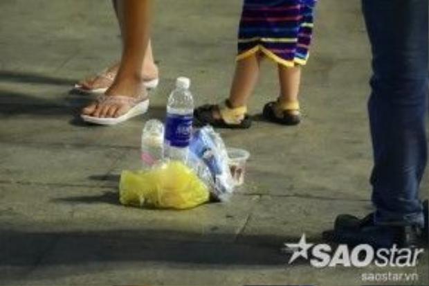 Mặc dù cơ quan quản lý trang bị nhiều thùng rác dọc phố đi bộ nhưng một số bạn trẻ thiếu ý thức vẫn vứt rác bừa bãi sau khi ăn uống xong. Cạnh các chậu hoa, bên ngoài thùng rác là bao nilông, chai lọ nước ngọt, vỏ kẹo… ngổn ngang.