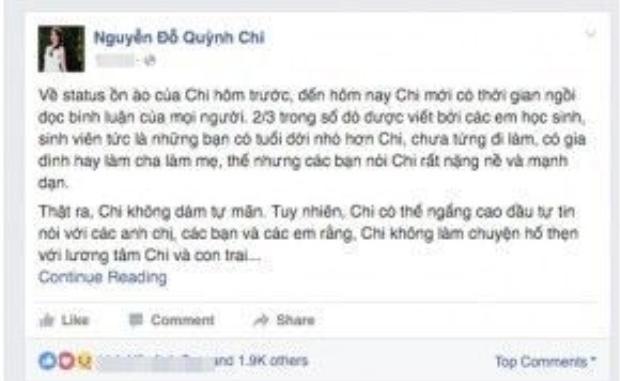 Quỳnh Chi chia sẻ dòng trạng thái mới nhất trên Facebook cá nhân.
