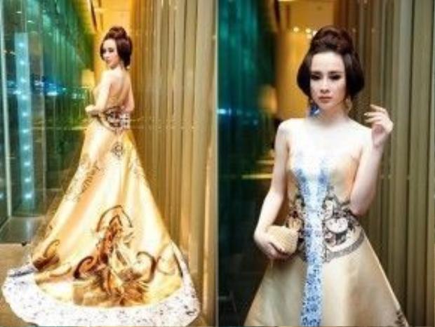 Angela Phương Trinh tự tin sải bước trên thảm đỏ như một nữ hoàng trong đầm dạ hội.