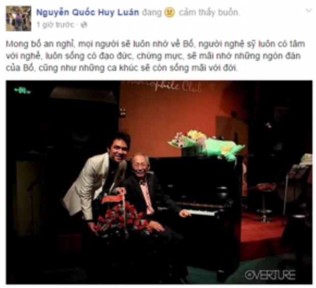 Ca sĩ Huy Luân - con trai NSƯT Kim Xuân cũng mong nhạc sĩ Nguyễn Ánh 9 an nghỉ. Anh chia sẻ rằng, ông là một người luôn có tâm với nghề, sống có đạo đức và chừng mực.