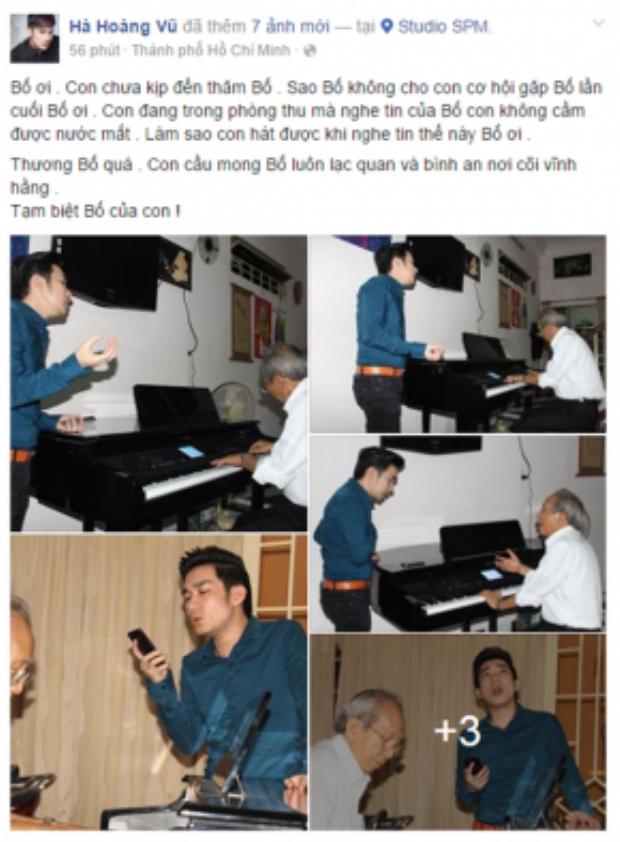 Ca sĩ Quang Hà tiếc nuối vì đã không kịp đến thăm cố nhạc sĩ lần cuối.