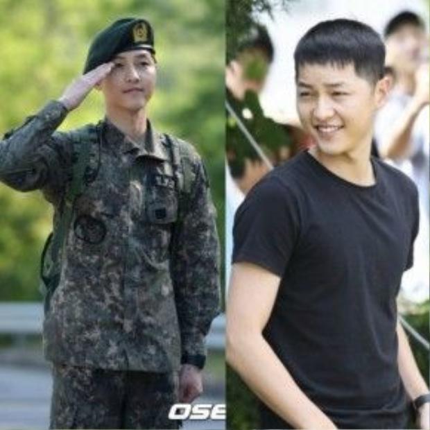 Vẻ đẹp rắn rỏi, mạnh mẽ của Song Joong Ki khi ở trong quân ngũ.
