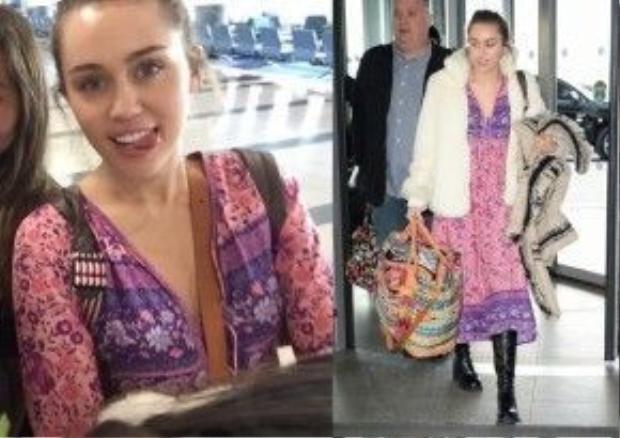 Hình ảnh Miley ở sân bay gây sốt cộng đồng mạng vì quá xinh, quá dễ thương.