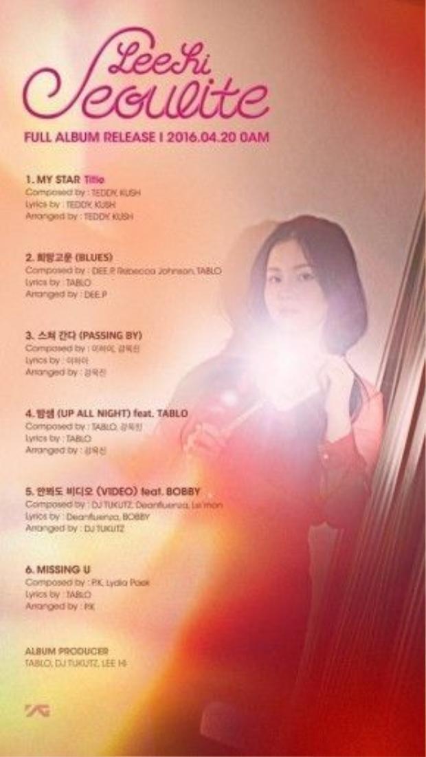Album Seoulite của Lee Hi sẽ lên kệ vào ngày 20/4.