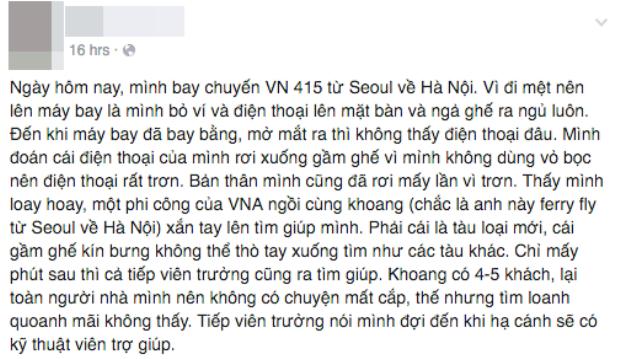Tìm được điện thoại thất lạc, hàng không Việt ghi điểm ấn tượng trong mắt khách hàng