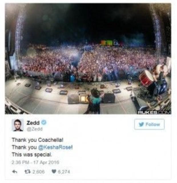 Zedd đã lên tiếng cảm ơn Kesha sau phần trình diễn. Nhưng có lẽ Kesha mới là người cần cảm ơn anh hơn cả.