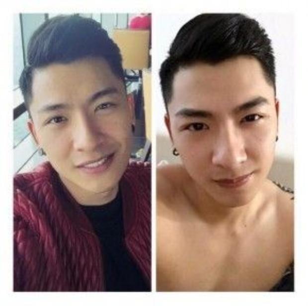 Giải đồng Siêu mẫu Việt Nam 2015 Nguyễn Trần Trung trước và sau khi tạo chân mày. (Nguồn: Fb Nguyễn Cao Kỳ)