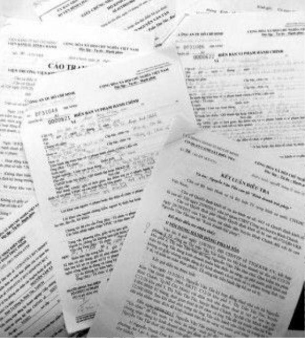 Các biên bản xử phạt vi phạm hành chính, kết luận điều tra vụ án của Công an huyện Bình Chánh và cáo trạng của VKSND huyện Bình Chánh đối với quán phở của anh Nguyễn Văn Tấn.