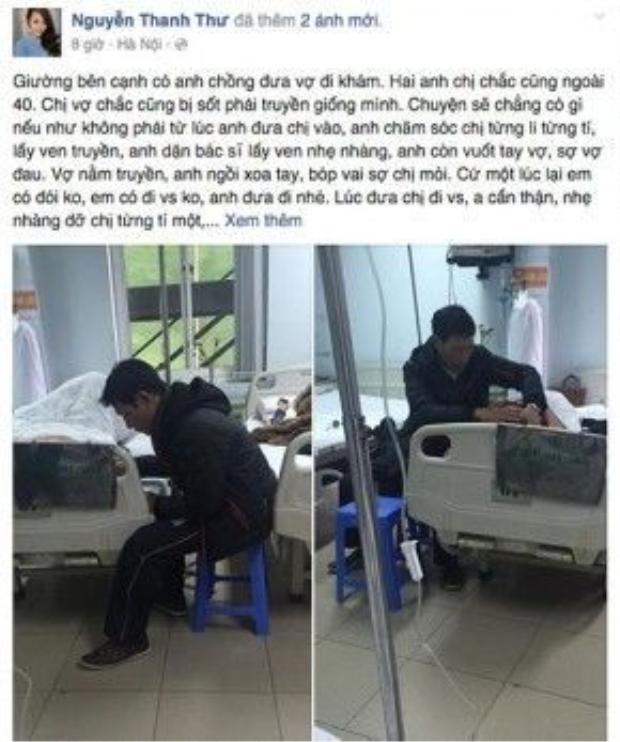 """Câu chuyện """"soái ca chăm vợ ốm"""" ở bệnh viện Hòa Nhai, ngày 18/12/2015."""