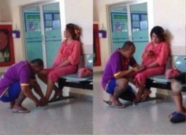 Còn đây là bức ảnh chụp lại một người chồng xăm trổ bóp chân cho vợ mang bầu trong hành lang bệnh viện ở Thái Lan.