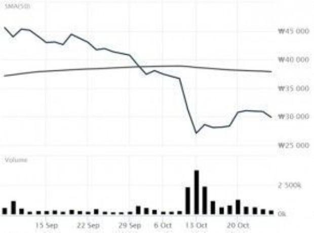 Giá cổ phiếu rớt từ 40.750 won (gần 36 USD) xuống còn 37.400 won (gần 33 USD).