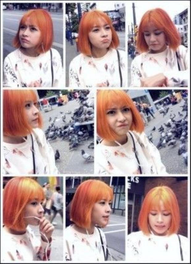 Với kiểu tóc ngắn ép thẳng, mái thưa, cô nàng Chi Pu chọn cho mình màu tóc cam chói lọi vô cùng nổi bật.