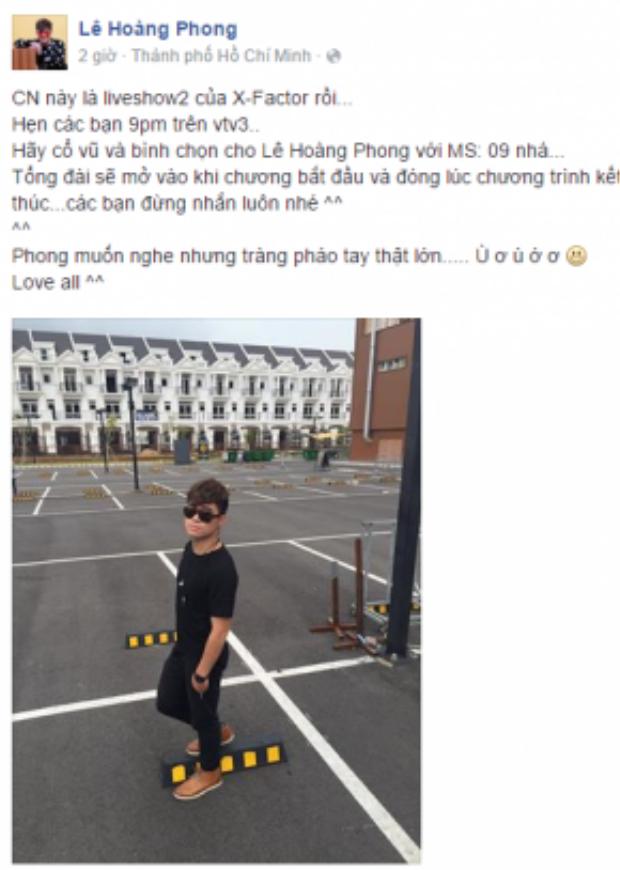 """Trước những đối thủ nặng kí, Lê Hoàng Phong cũng nhanh tay kêu gọi những mọi người ủng hộ cho mình ở vòng thi sắp tới với mã số 09. Kèm theo đó là bức ảnh '""""cực ngầu"""" khiến fan nữ điêu đứng."""