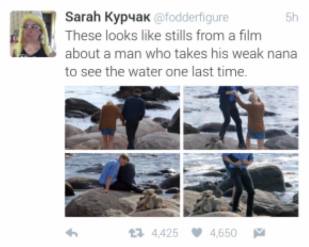 """""""Này giống một cảnh phim buồn ơi là buồn khi một người đàn ông đưa người bà ốm yếu của anh ấy ra ngắm biển lần cuối ấy ạ"""""""