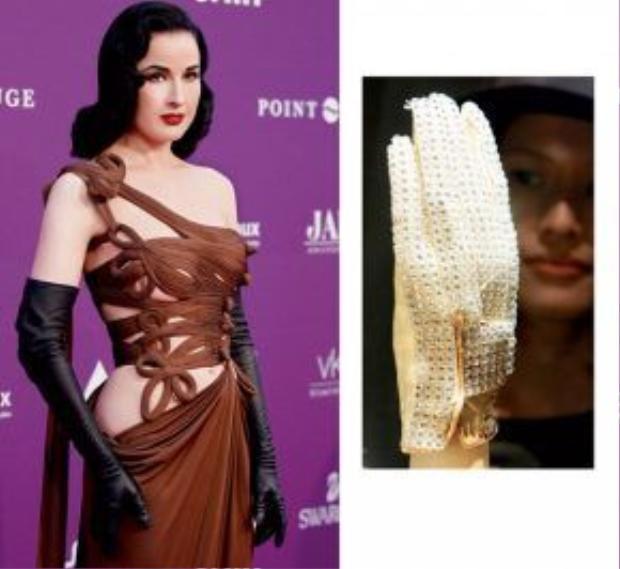 Trái: Dita Von Teese xuất hiện trong lễ trao giải Duftstars tại Berlin, Đức với chiếc đầm độc đáo và đôi găng tay đen quý phái. Phải: Găng tay đắt nhất thế giới của Michael Jackson.