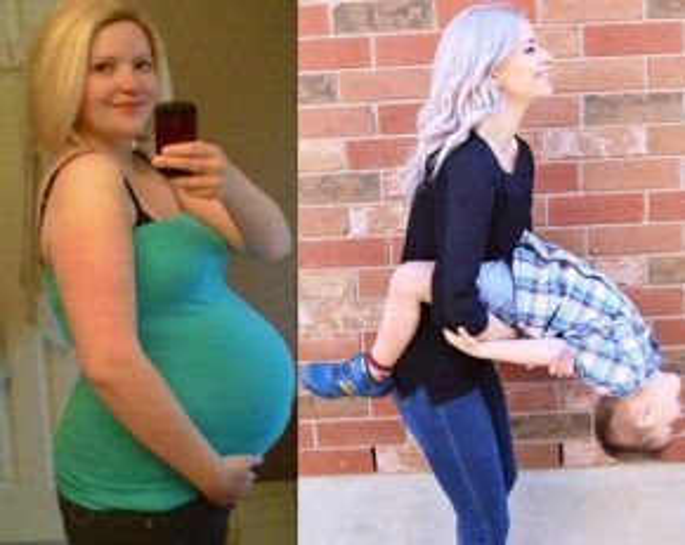 Hình ảnh khi mang bầu béo tròn và thân hình thon gọn bên con sau khi giảm cân thành công khiến nhiều người không khỏi ngưỡng mộ sự hy sinh và những nỗ lực của bà mẹ trẻ.