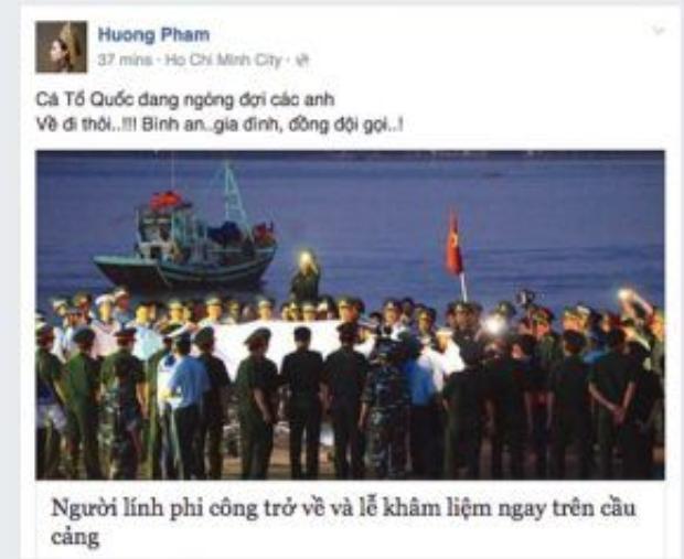 """Hoa hậu Phạm Hương nghẹn ngào viết: """"Cả Tố quốc đang ngợi các anh, về đi thôi! Bình an! Gia đình, đồng đội gọi…!""""."""