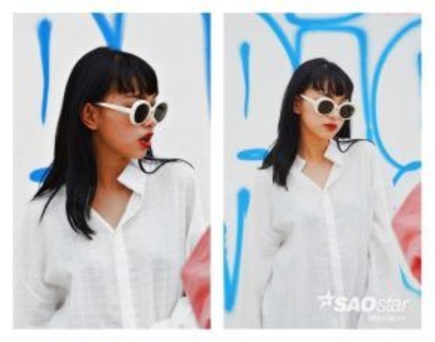 Fashionista Châu Bùi lăng xê mẫu kính hình ovan lạ mắt mang đậm cảm hứng vintage.