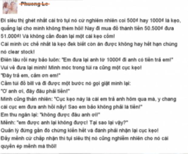 """Chia sẻ """"độc chiêu"""" đối phó với kiểu trả tiền thừa bằng kẹo ở siêu thị của Phuong Le"""