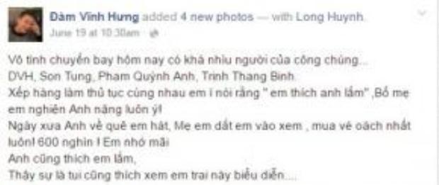 Mr Đàm chia sẻ suy nghĩ của mình về Sơn Tùng M-TP trên trang cá nhân.