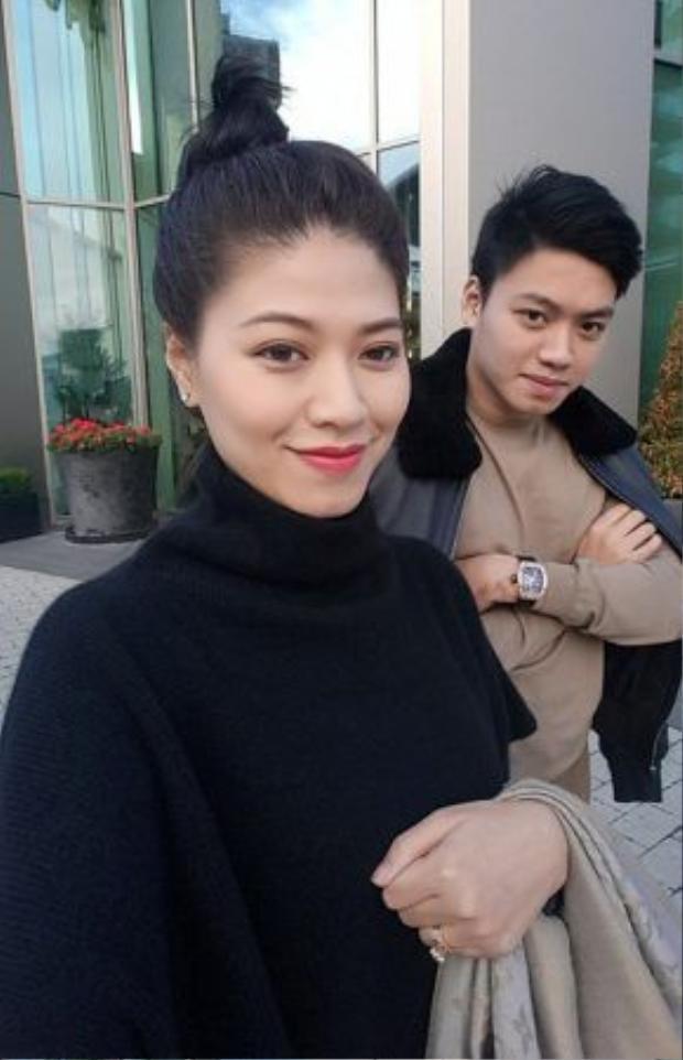 Bức ảnh chụp chung của MC Ngọc Trinh và Bảo Hưng, đăng trên trang cá nhân của Ngọc Trinh. Ảnh: FBNV.