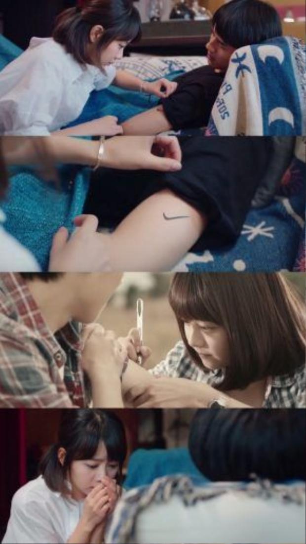Cảnh Cảnh tình cờ phát hiện ra hình xăm bằng bút mực khi xưa cô vẽ lên tay anh, giờ đã biến thành hình xăm thật sự và lưu giữ mãi trên cánh tay Dư Hoài.