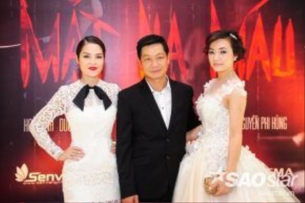 Đạo diễn Đỗ Thành An sánh vai bên cạnh hai nữ chính vào hôm họp báo ra mắt dự án.