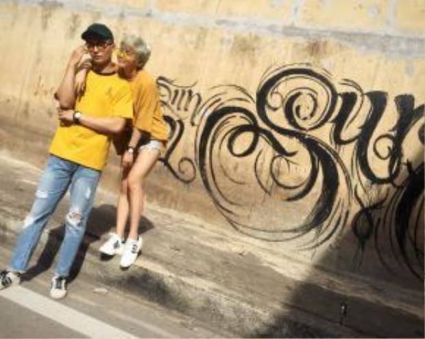 Yến Lê cùng bạn diễn trong MV - cũng chính là bạn trai ngoài đời của cô nàng.