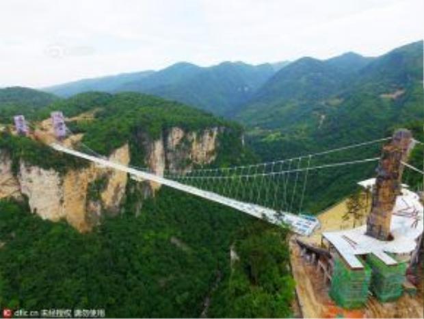 Cây cầu kính tại công viên quốc gia Trương Gia Giới, Trung Quốc có độ dài 430 m, cao 300 m so với mặt đất.