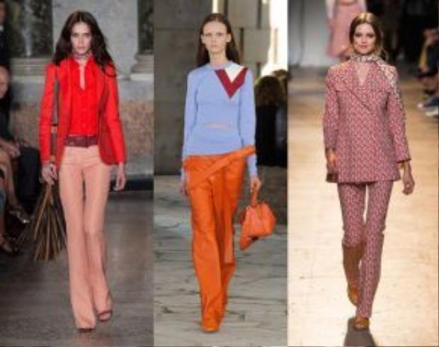 Từ trái sang: Các thiết kế pantsuit trong bộ sưu tập Xuân Hè 2015 của Emilio Pucci, Loewe, Paul &Joe