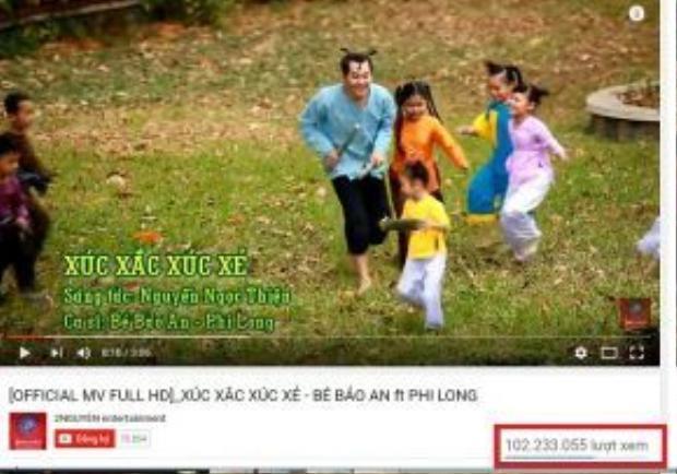 Ca khúc đạt hơn 102 triệu view trên một trang nghe nhạc trực tuyến.