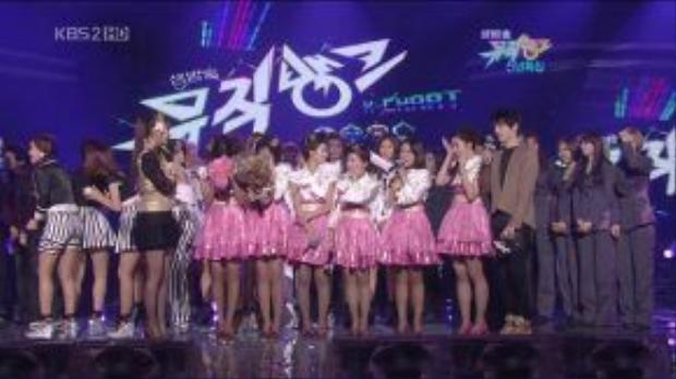 Sân khấu Music Bank ngày 1/1/2010, nơi T-ara giành chiến thắng đầu tiên với Bo Peep Bo Peep.