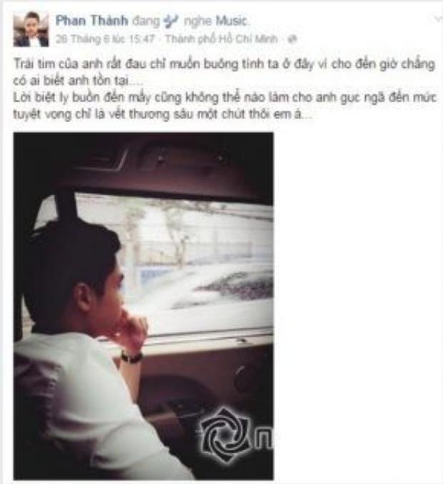 Sau chia tay Midu, Phan Thành thường đăng status buồn.