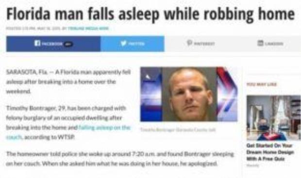 Lăn ra ngủ quên khi đang đi ăn trộm.