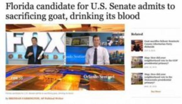 Ứng cử viên bang Florida thừa nhận đã cúng tế và uống máu dê.
