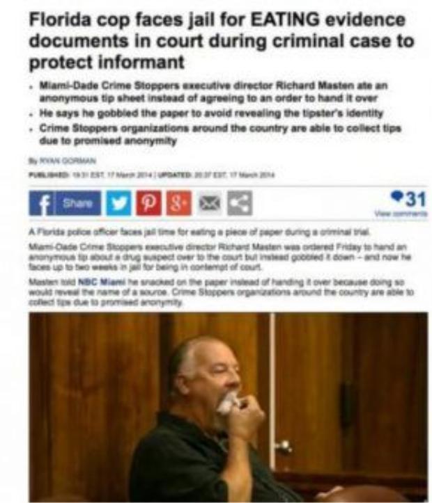 Cảnh sát Florida vào tù vì ăn bằng chứng khi đang tham gia xét xử vụ án hình sự tại tòa.