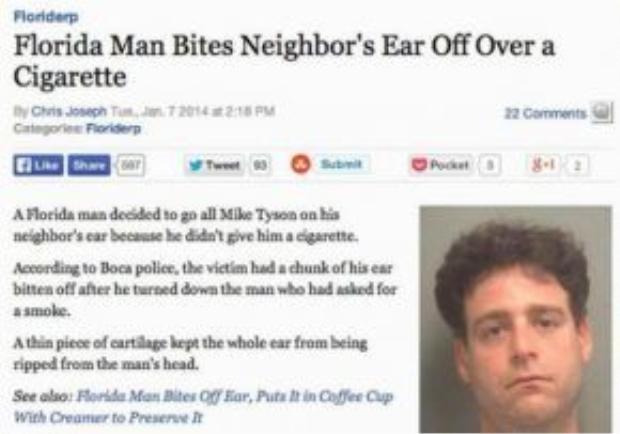 Cắn đứt tai hàng xóm chỉ vì điếu thuốc.