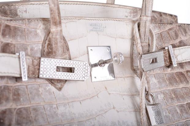 Phần khóa gài đính kim cương cũng phần nào nâng tầm đẳng cấp của mẫu túiHermès Himalayan Crocodile Birkin.