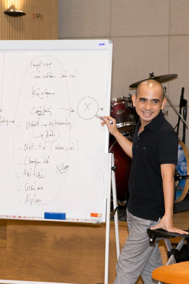 Nhạc sĩ Đức Trí trong một buổi hướng dẫn về kĩ năng sáng tác cho các thành viên trong đội của mình.