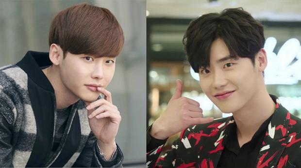 Trong bộ phim 7 nụ hôn đầu gần đây, Lee Jong Suk cũng chọn kiểu tóc rẽ ngôi uốn xoăn lãng tử