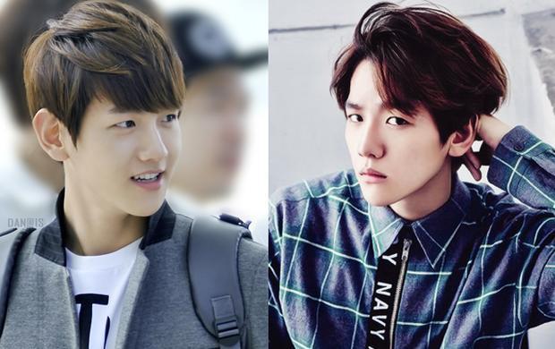 """Baek Hyun vốn sở hữu khuôn mặt baby """"búng ra sữa"""", thế nên kiểu tóc 2 mái giúp anh chàng trông nam tính và chững chạc hơn"""