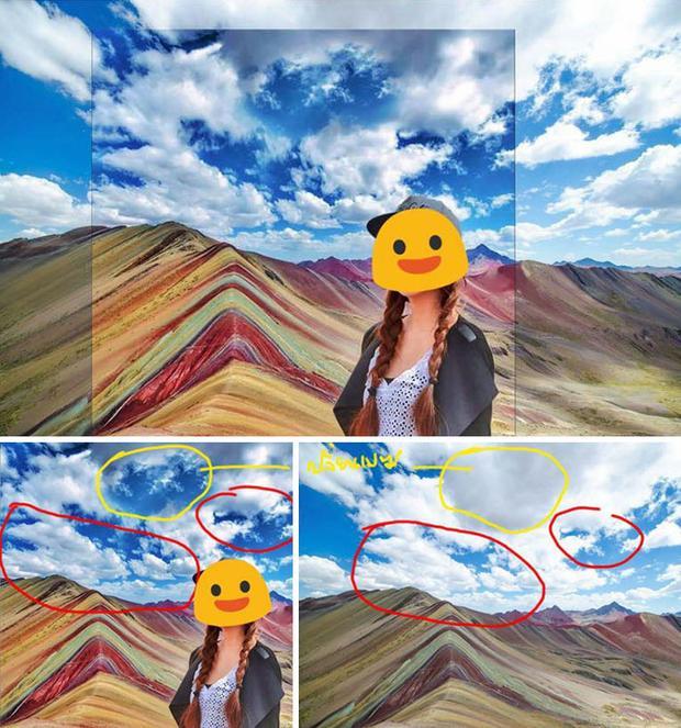 Chẳng những ghép mình vào ảnh chụp phong cảnh có sẵn, cô nàng còn chăm chút photoshop chỉnh sửa chi tiết cho thêm phần lung linh nữa cơ.