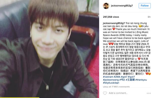 Chia sẻ mới nhất của Jackson trên Instagram cá nhân.