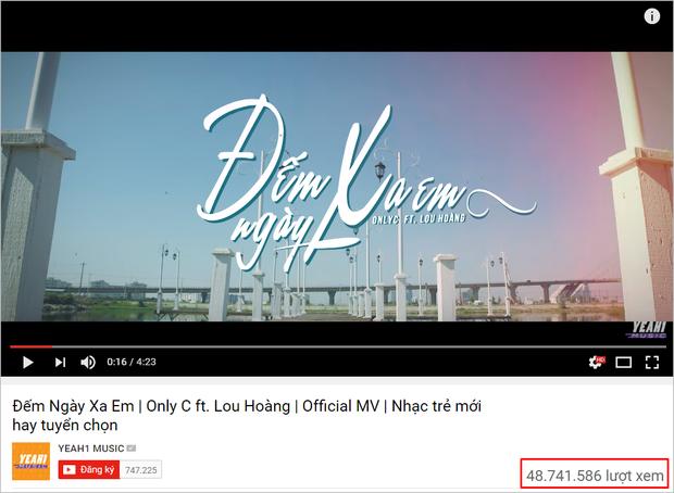 Đếm ngày xa em - Ca khúc kết hợp được tung ra vào đầu năm nay từ Only C và Lou Hoàng chuẩn bị cán mốc 50 triệu lượt xem trên Youtube.