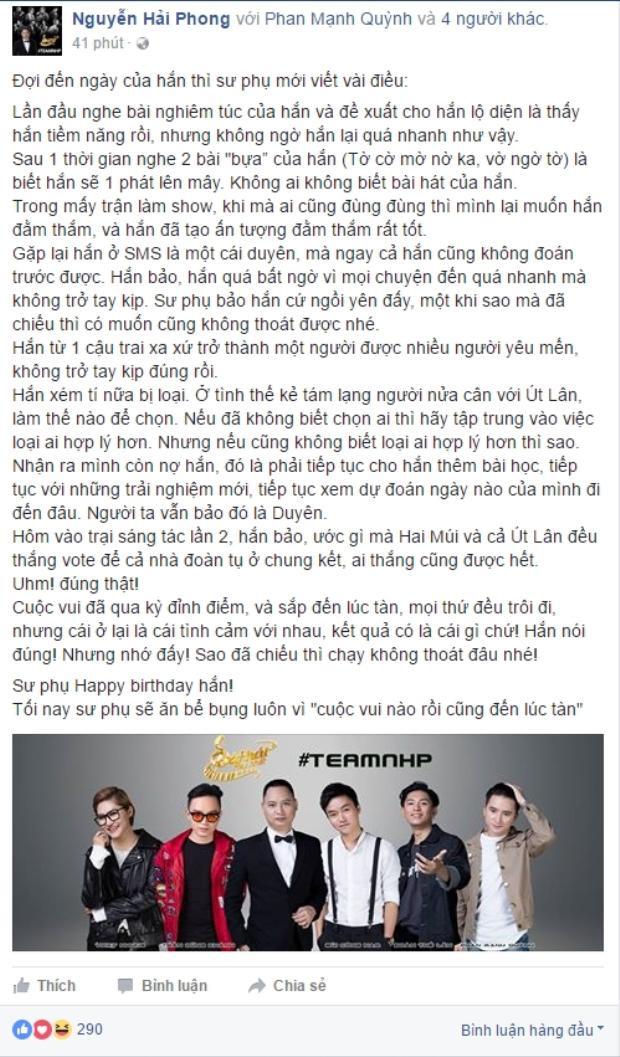 Những lời chia sẻ chân thành HLV Nguyễn Hải Phong dành riêng cho học trò cưng của mình.