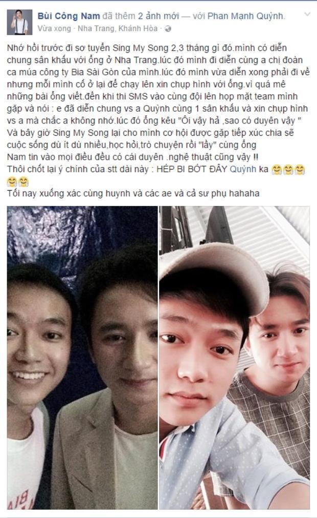 Lời chúc mừng sinh nhật dễ thương Công Nam gửi đến Phan Mạnh Quỳnh.
