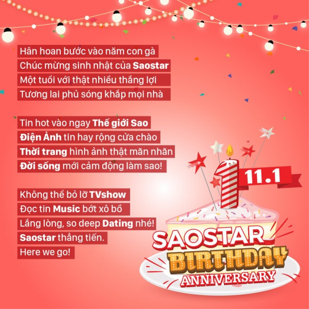 Dàn sao Việt nô nức chúc mừng Saostar tròn 1 tuổi: Thẳng tiến, Here We Go!