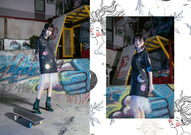 Màu đen tượng trưng cho màn trời đêm huyền bí trở nên dịu dàng hơn khi được phối cùng chân váy xuyên thấu màu trắng.