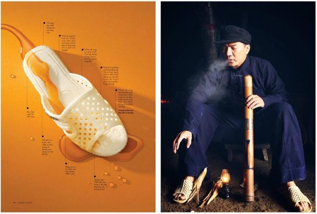 NTK Võ Công Khanh cũng thử sức khi tạo ý tưởng chụp hình thời trang cùng đôi dép tổ ong.