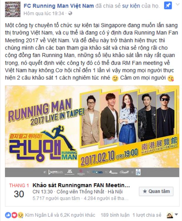 Thông tin được các Page Running Man nổi bật đưa tin.